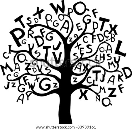 Abstract tree with black letters isolated on White background. Vector illustration