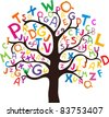 Abstract tree with colorful letters isolated on White background. Vector illustration - stock photo