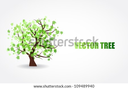 Abstract tree with green fresh leaves