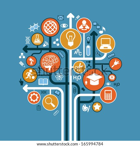 abstract tree with icons. Vector education and science concept. - stock vector