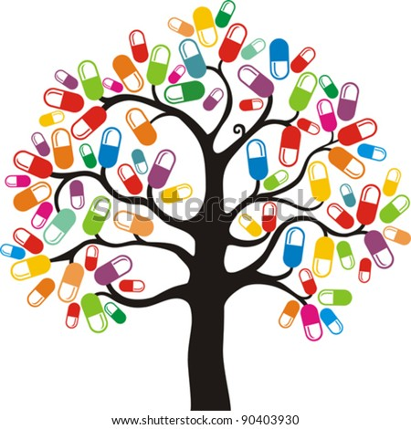Abstract  tree with medical pill on white  background. Vector Illustration - stock vector