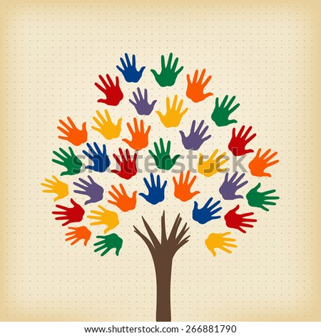 abstract tree with open hands as leaves - stock vector