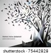 Abstract Tree with origami birds. - stock photo