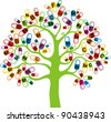 Abstract tree with vitamin on white background. Healthy life concept. Colored medicine capsules set. Vector Illustration - stock photo
