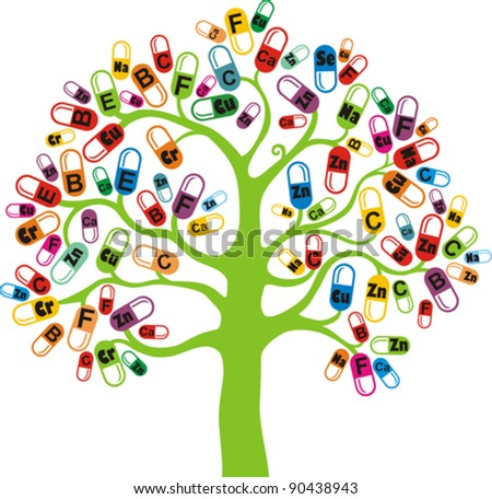Abstract tree with vitamin on white background. Healthy life concept. Colored medicine capsules set. Vector Illustration - stock vector