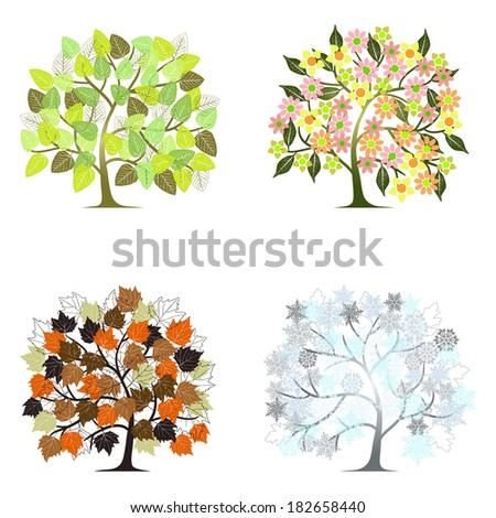 Abstract Trees, Four Seasons - graphic elements - vector set - stock vector