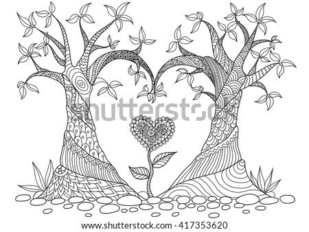 Abstract trees in heart shape  line art design for coloring book - stock vector
