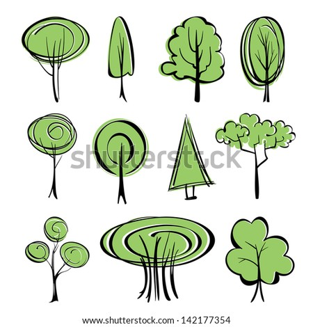 abstract trees  sketch collection  cartoon vector  illustration - stock vector