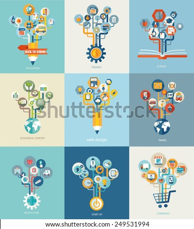 Abstract trees with icons for web design, Vector web design concept, travel, finance, medical, ecology, start up, commerce,education and science concept - icons and sign in flat style. - stock vector