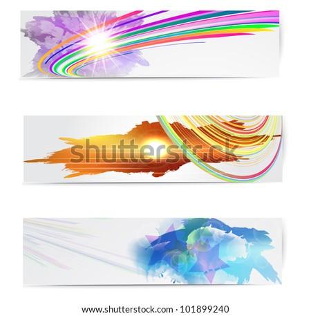 Abstract trendy vector banner or header set. - stock vector