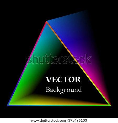 Abstract triangle background. Neon light. Vector electric frame. Vintage frame. Space for your text. Glowing frame. Abstract sign triangle. Vector illustration