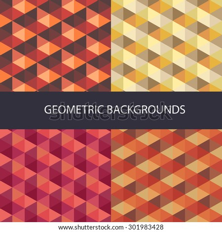 Abstract triangle backgrounds set.Vector Illustration. - stock vector