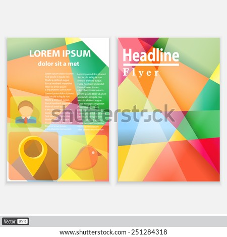 Abstract Triangle Brochure Flyer design vector template in A4 size. Creative modern concept with icons. - stock vector