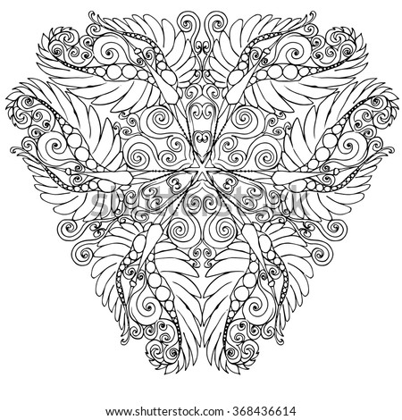Abstract triangle design of kaleidoscopic mandala with flying crane birds centered unusual design in black and white outlines isolated on white background, coloring page