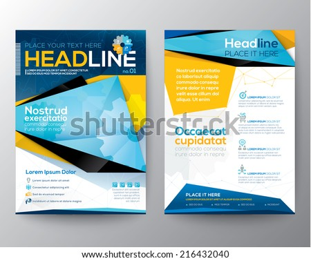 Abstract Triangle design vector template layout for magazine brochure flyer booklet cover annual report in A4 size - stock vector