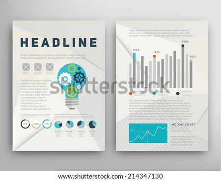 Abstract Triangle Geometric Vector Brochure Template. Flyer Layout. Flat Style. Infographic Elements. Idea Concept. - stock vector