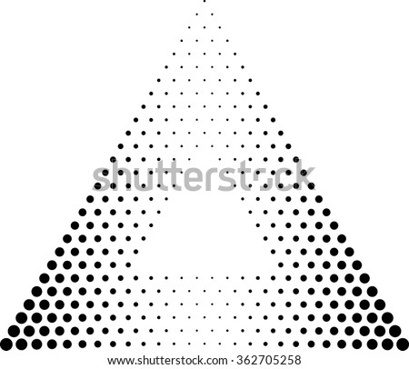 Abstract Triangle Geometrical Background . Modern Halftone Dotted Logo . Vector. - stock vector