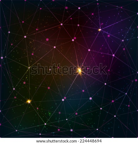 Abstract triangle grid on cosmic background - stock vector