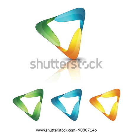 Abstract triangle icons - stock vector