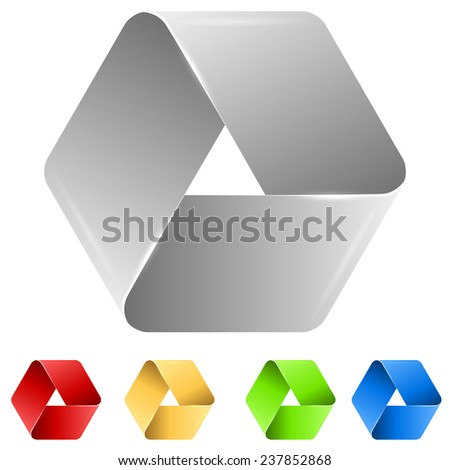 Abstract triangle paper icon isolated on white background. - stock vector