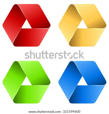 Abstract triangle paper loop icon in four colors. - stock vector