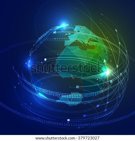 Abstract Triangle Planet Earth with Ring of Binary Digits. Low Poly Look of Planet Earth. Globe Covered with Low Poly Triangles. Binary Numbers around the Planet Earth. Vector Illustration