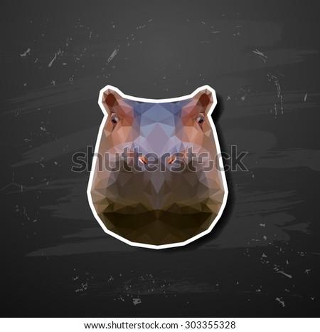 abstract triangle polygonal hippopotamus - stock vector