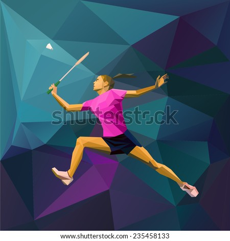 Abstract triangle style female badminton player hitting the shuttle