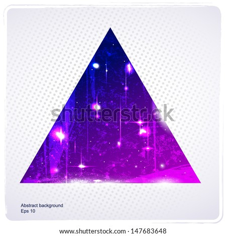 Abstract triangle with polka dot background  - stock vector