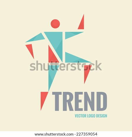 Abstract triangles vector logo. Human character illustration. Vector logo template. Human logo. Human icon. Human character illustration. Design element.  - stock vector