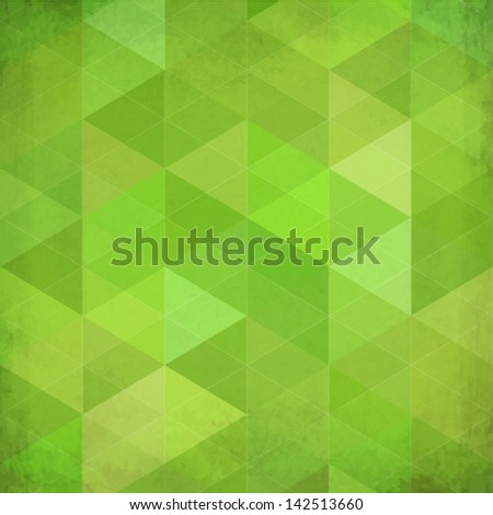 Abstract triangles vintage vector green background - stock vector