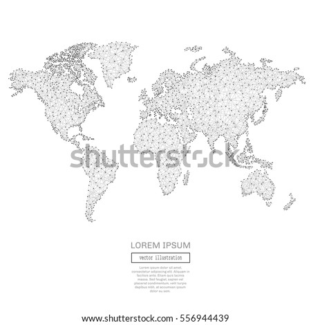 Abstract triangles world map space low stock vector 556944439 abstract triangles world map space low poly grey wireframe polygonal globe vector illustration for gumiabroncs Images