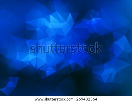 Abstract triangular background with polygonal abstract shapes and pure blue color tones. - stock vector