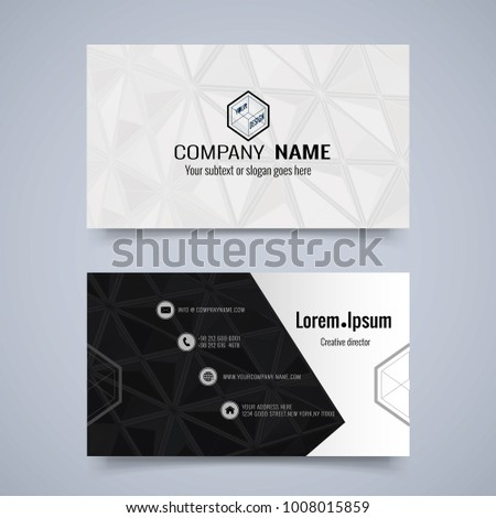 abstract triangular geometric business card layout stock vector
