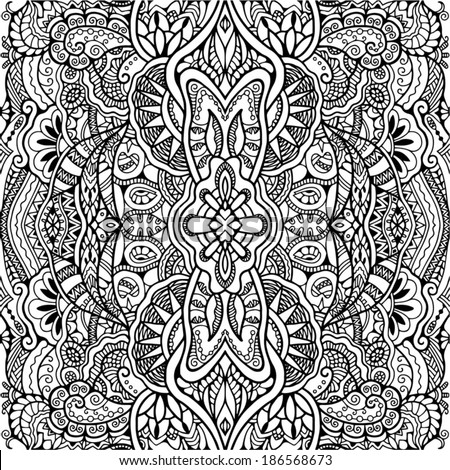 Abstract tribal ethnic background seamless pattern hand drawn artwork black and white