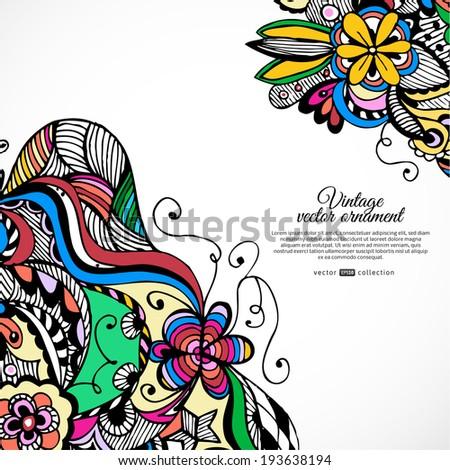 ... tribal ethnic background. Vector flower pattern - stock vector