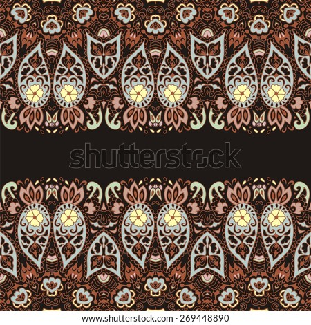 Abstract Tribal vintage ethnic paisley ornament. Seamless retro pattern can be used for wallpaper, pattern fills, web page background,surface textures - stock vector.   - stock vector