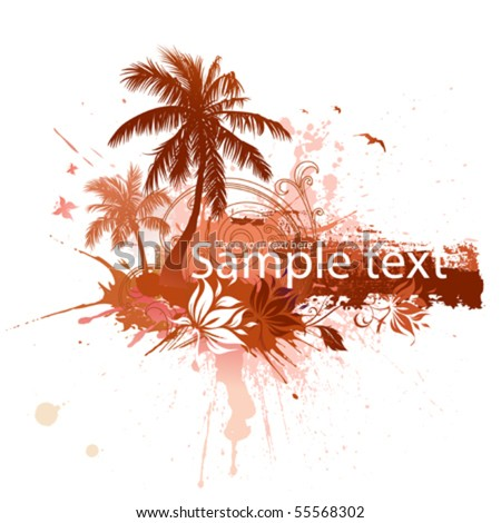Abstract tropical background with space for text - stock vector