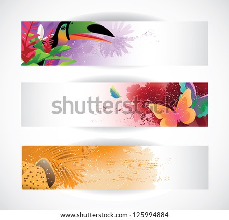 Abstract Tropical Banners EPS 8 vector, no open shapes or paths. - stock vector