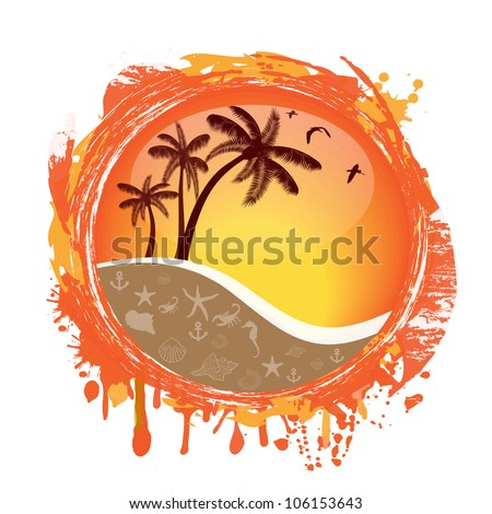 Abstract tropical sun splash on white background, vector illustration