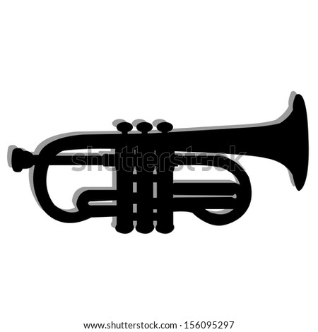 abstract trumpet silhouette with shadow effect on white background
