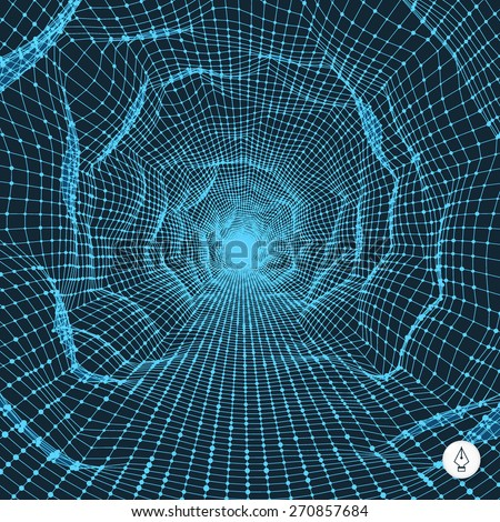 Abstract tunnel grid. 3d vector illustration. Can be used as digital dynamic wallpaper, technology background.  - stock vector