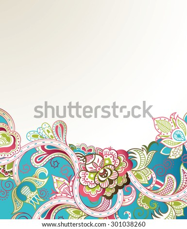 Abstract Turquoise Floral Background - stock vector