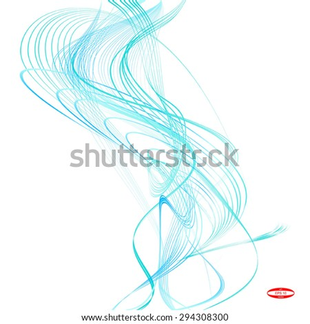 abstract turquoise line aqua wave cyan band on white background. vector illustration