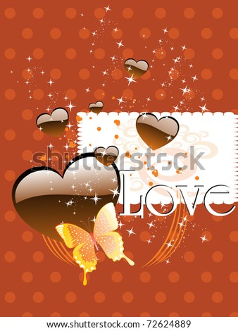 abstract twinkle star background with chocolate heart, butterfly - stock vector