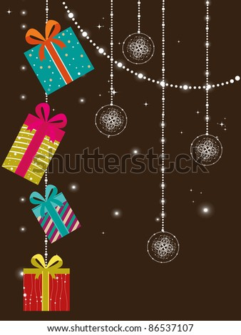 abstract twinkle star, hanging decorative artwork concept greeting card for new year - stock vector