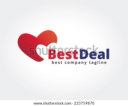 Abstract two hearts vector logo icon concept. Logotype template for branding and corporate design - stock vector