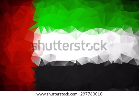 Abstract UAE flag polygon background - stock vector