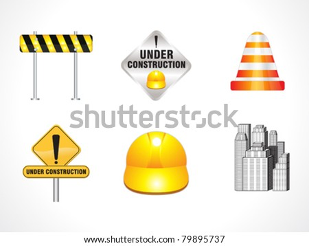 abstract under construction icons vector illustration