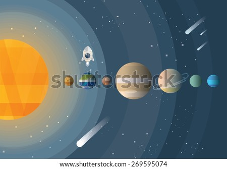abstract universe wallpaper in flat design style with solar system and planet comparison with rocket space ship explorer and meteor shower - stock vector
